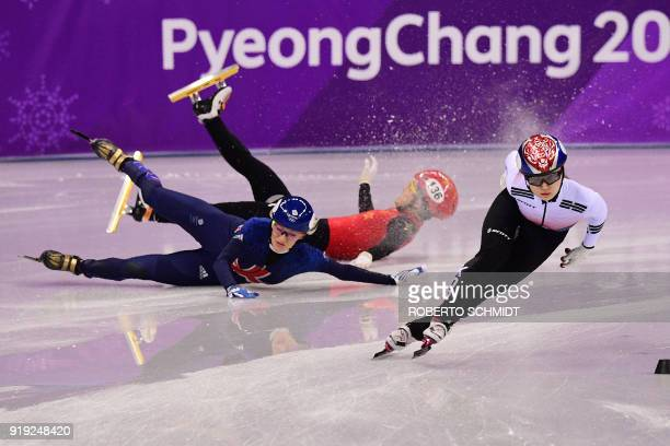 TOPSHOT South Korea's Choi Minjeong competes as Britain's Elise Christie and China's Li Jinyu fall in the women's 1500m short track speed skating...