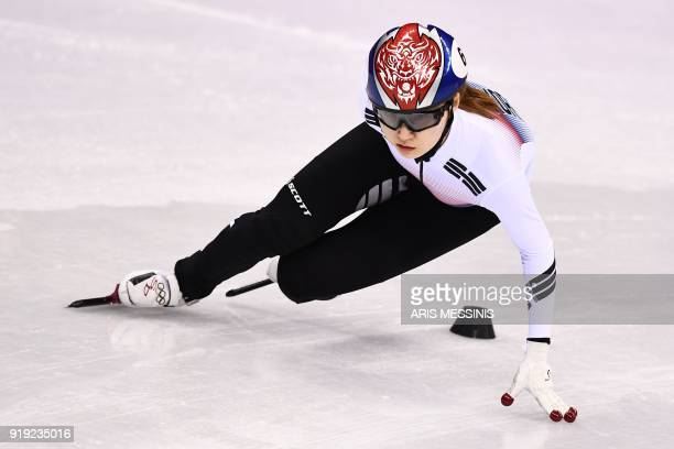 TOPSHOT South Korea's Choi Minjeong competes in the women's 1500m short track speed skating heat event during the Pyeongchang 2018 Winter Olympic...