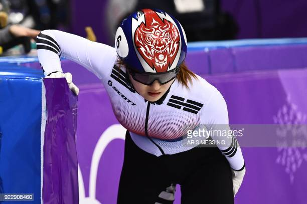 TOPSHOT South Korea's Choi Minjeong reacts after a fall in the women's 1000m short track speed skating A final event during the Pyeongchang 2018...