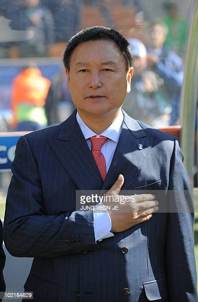 South Korea's coach Huh JungMoo is pictured during their Group B first round 2010 World Cup football match on June 17 2010 at Soccer City stadium in...