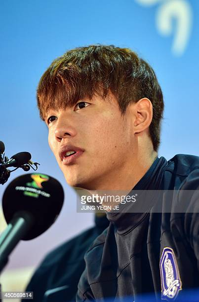 South Korea's defender Hong JeongHo attends a press conference before a training session in Foz do Iguacu Parana on June 13 2014 during the 2014 FIFA...
