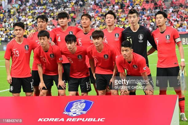 South Korea's defender Kim Jinsu defender Kim Minjae midfielder Jung Wooyoung forward Hwang Uijo goalkeeper Jo Hyeonwoo midfielder Son Heungmin...