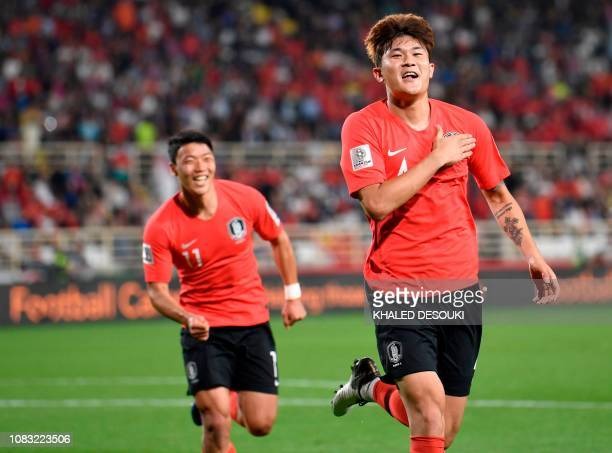 South Korea's defender Kim Minjae celebrates after scoring a goal during the 2019 AFC Asian Cup group C football match between South Korea and China...