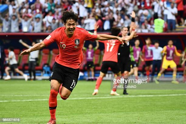 South Korea's defender Kim Younggwon celebrates after scoring a goal during the Russia 2018 World Cup Group F football match between South Korea and...