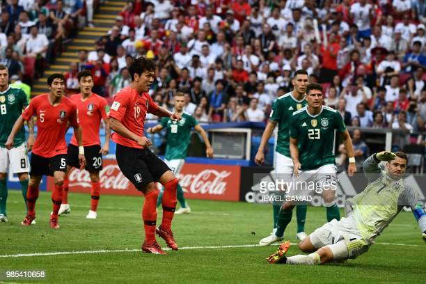 South Korea's defender Kim Younggwon shoots and scores a goal past Germany's goalkeeper Manuel Neuer during the Russia 2018 World Cup Group F...