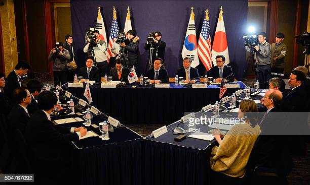 South Korea's delegation Hwang JoonKook led by Special Representative for Korean Peninsula Peace and Security Affairs top US delegation and Japan's...