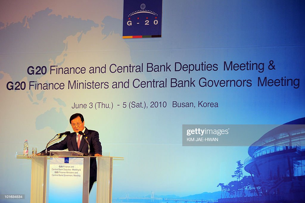 South Korea's Finance Minister Yoon Jeung-Hyun speaks to the media during a closing news conference of the G20 Finance Ministers and Central Bank Governors meeting in Busan June 5, 2010. Market convulsions sparked by Europe's debt crisis show that major challenges remain to global economic recovery, G20 nations said Saturday as they vowed to fix their fiscal houses.