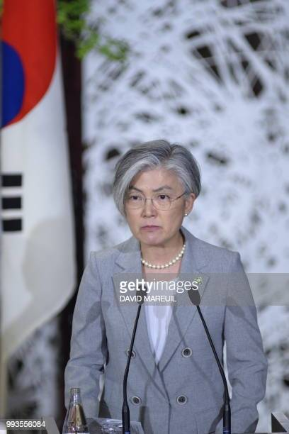 South Korea's Foreign Minister Kang Kyungwha attends a press conference with US Secretary of State Mike Pompeo an Japan's Foreign Minister Taro Kono...