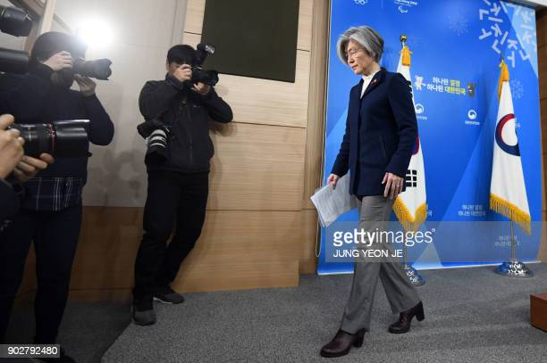 South Korea's Foreign Minister Kang KyungWha leaves after a briefing on the 2015 South KoreaJapan agreement over South Korea's 'comfort women' issue...