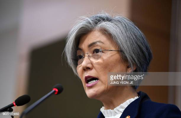 South Korea's Foreign Minister Kang KyungWha speaks during a briefing on the 2015 South KoreaJapan agreement over South Korea's 'comfort women' issue...
