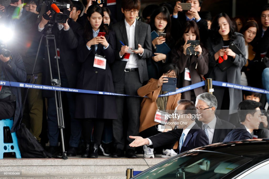 South Korea's former President Lee Myoung-Bak arrives at a prosecutor's office on March 14, 2018 in Seoul, South Korea. Seoul Central District Prosecutor's Office summoned former South Korean President Lee Myung-bak for questioning on multiple cases of bribery during his 2008-2013 presidential term.