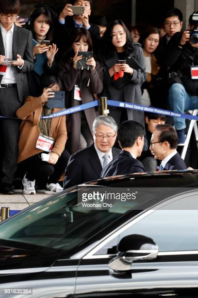 South Korea's former President Lee MyungBak arrives at a prosecutor's office on March 14 2018 in Seoul South Korea Seoul Central District...