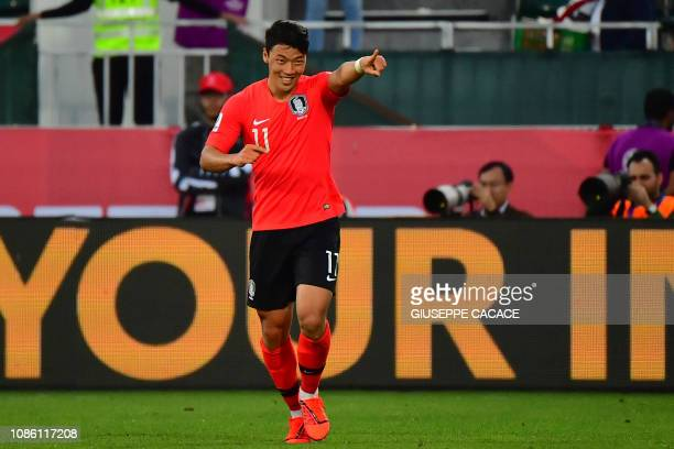 South Korea's forward HeeChan Hwang celebrates his goal during the 2019 AFC Asian Cup Round of 16 football match between South Korea and Bahrain at...