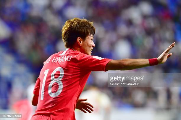 South Korea's forward Hwang Uijo celebrates after scoring a goal during the 2019 AFC Asian Cup football game between Korea Republic and Philippines...