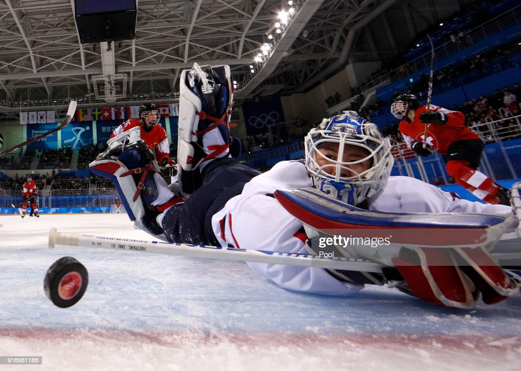 South Korea's goalie Shin So-jung #31, of the combined Koreas team, watches the puck goes into the goal shot by Phoebe Staenz (88), of Switzerland, during the second period during the Women's Ice Hockey Preliminary Round - Group B game on day one of the PyeongChang 2018 Winter Olympic Games at Kwandong Hockey Centre on February 10, 2018 in Gangneung, South Korea.