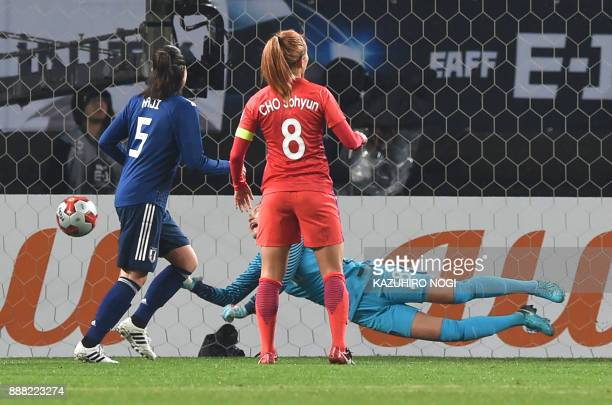 South Korea's goalkeeper Kim Jungmi tries to save the gaol as Japan's forward Madoka Haji and South Korea's midfielder Cho Sohyun look on during...