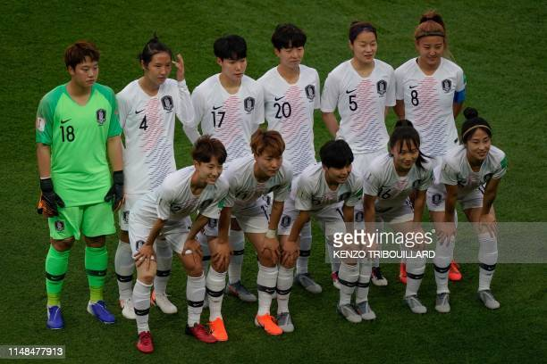 South Korea's goalkeeper MinJeong Kim South Korea's defender BoRam Hwang South Korea's forward GeumMin Lee South Korea's defender HyeRi Kim South...
