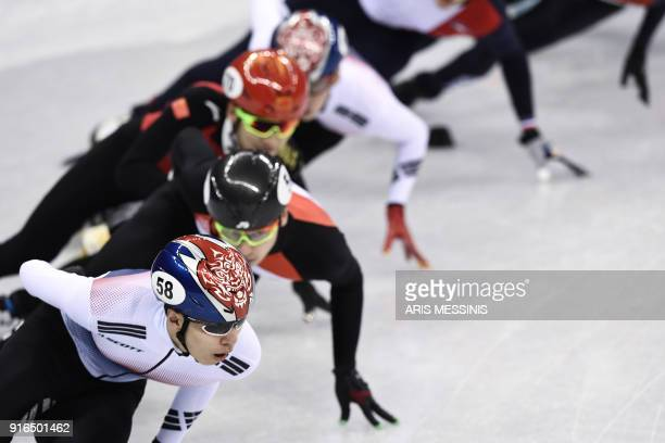 South Korea's Hwang Daeheon takes part in the men's 1,500m short track speed skating semi-final event during the Pyeongchang 2018 Winter Olympic...