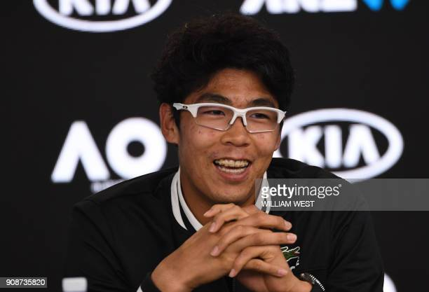 South Korea's Hyeon Chung addresses a press conference after his victory over Serbia's Novak Djokovic in their men's singles fourth round match on...