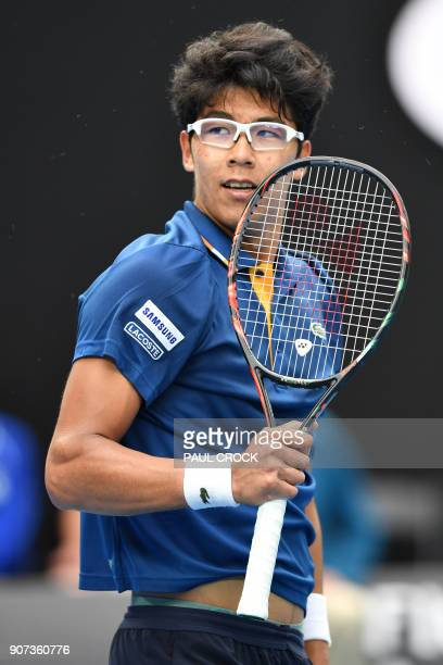 South Korea's Hyeon Chung reacts against Germany's Alexander Zverev during their men's singles third round match on day six of the Australian Open...