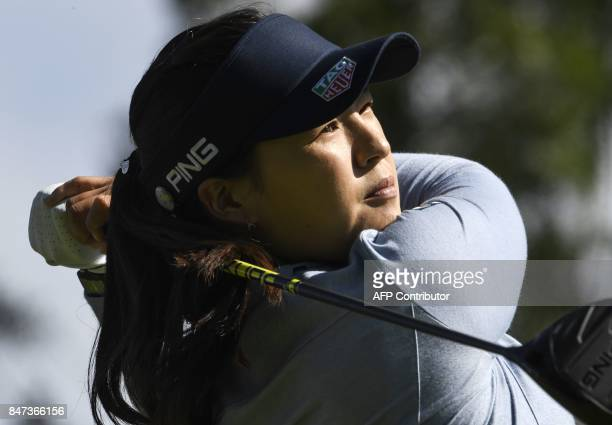 South Korea's In Gee Chun competes during the Evian Championship golf tournament in the French Alps town of EvianlesBains southeastern France on...