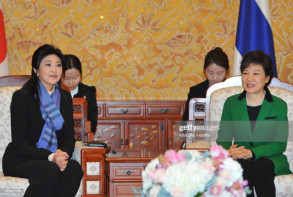 South Korea's incoming president Park Geun-Hye (R) meets with Thai Prime Minister Yingluck Shinawatra at the presidential Blue House in Seoul on February 25, 2013. Park Geun-Hye became South Korea's first female president on February 25, vowing zero tolerance with North Korean provocation and demanding Pyongyang 'abandon its nuclear ambitions' immediately.