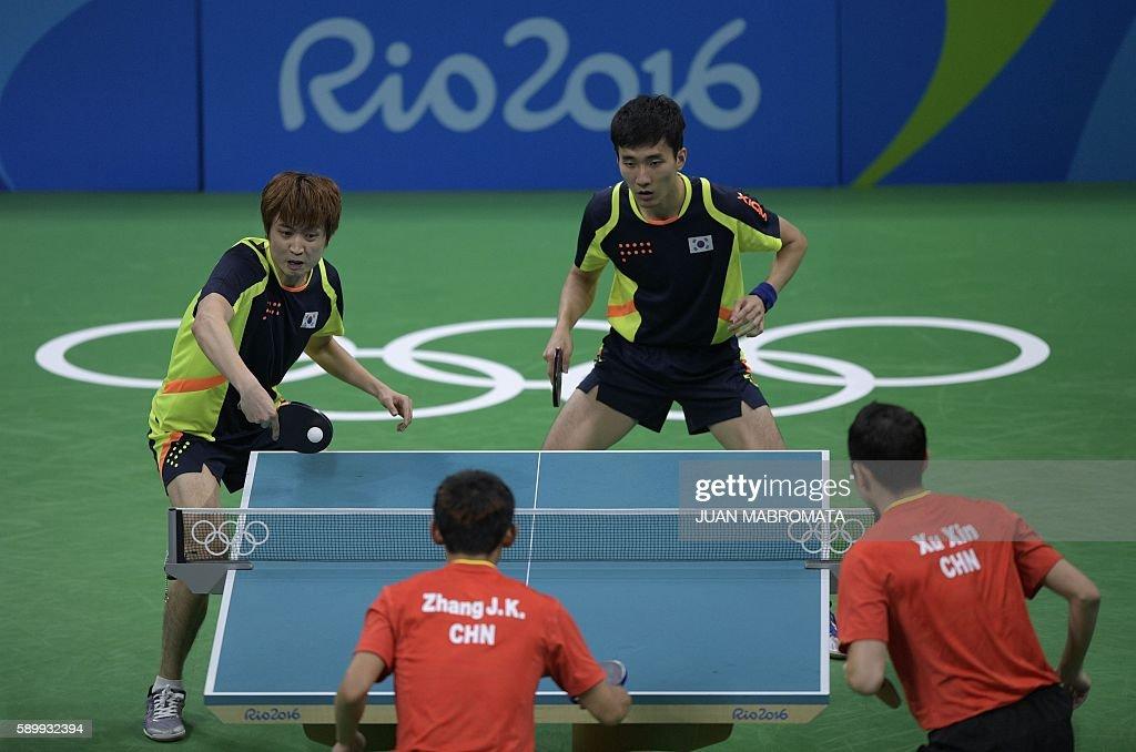 TABLE TENNIS-OLY-2016-RIO-KOR-CHN : ニュース写真