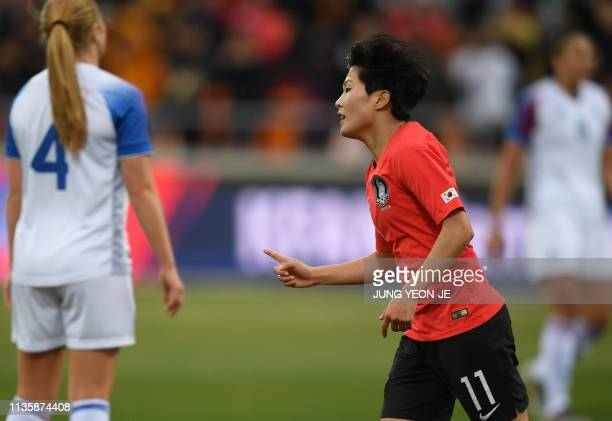 South Korea's Ji Soyun celebrates her goal against Iceland during a women's friendly football match in Chuncheon on April 9 2019