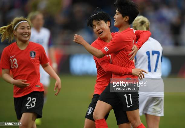 South Korea's Ji So-yun celebrates her goal with teammates against Iceland during a women's friendly football match in Chuncheon on April 9, 2019.