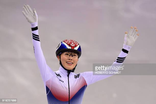 TOPSHOT South Korea's Kim Alang celebrates following the women's 1500m short track speed skating A final event during the Pyeongchang 2018 Winter...