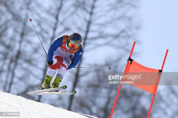South Korea's Kim Dong Woo competes in the Men's Alpine Combined Downhill at the Jeongseon Alpine Center during the Pyeongchang 2018 Winter Olympic...