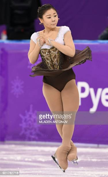 South Korea's Kim Hanul competes in the women's single skating short program of the figure skating event during the Pyeongchang 2018 Winter Olympic...