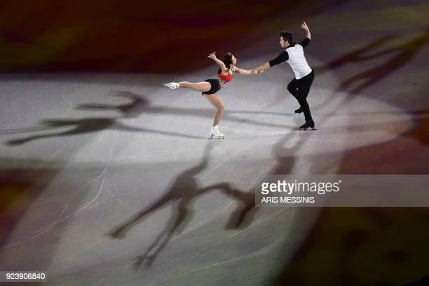 South Korea's Kim Kyueun and South Korea's Alex Kang Chan Kam perform during the figure skating gala event during the Pyeongchang 2018 Winter Olympic...