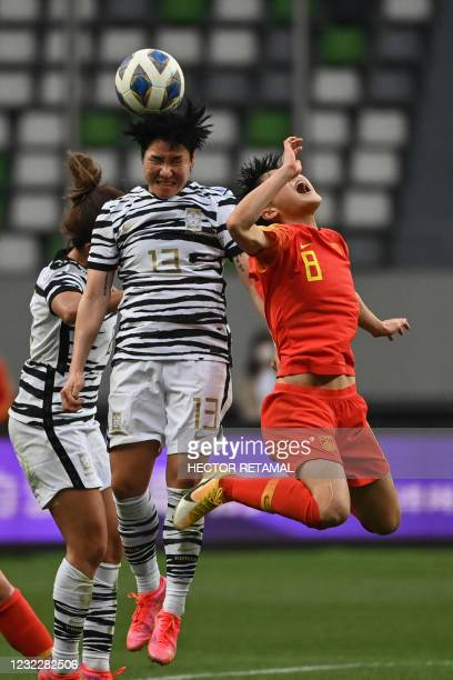 South Korea's Lee Geum-min and China's Ma Jun compete for the ball during the qualifying play-off second leg women's football match for the Tokyo...