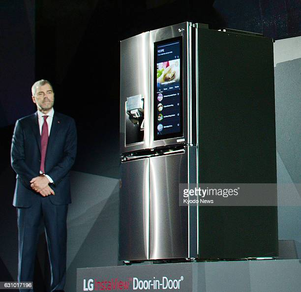 South Korea's LG Electronics Inc unveils its Smart InstaView refrigerator featuring voice control provided by Amazon's Alexa AI on Jan 4 a day before...
