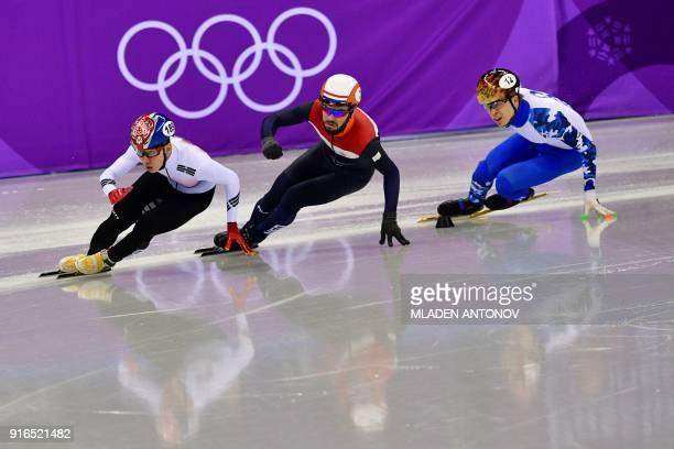 South Korea's Lim Hyojun , Netherlands' Sjinkie Knegt and Russia's Semen Elistratov take part in the men's 1,500m short track speed skating A final...