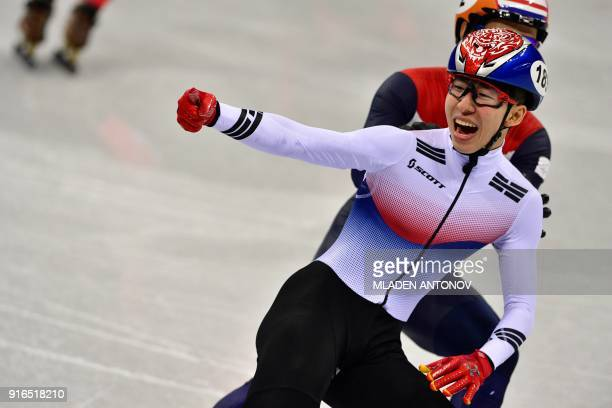 South Korea's Lim Hyojun reacts after winning the men's 1,500m short track speed skating A final event during the Pyeongchang 2018 Winter Olympic...
