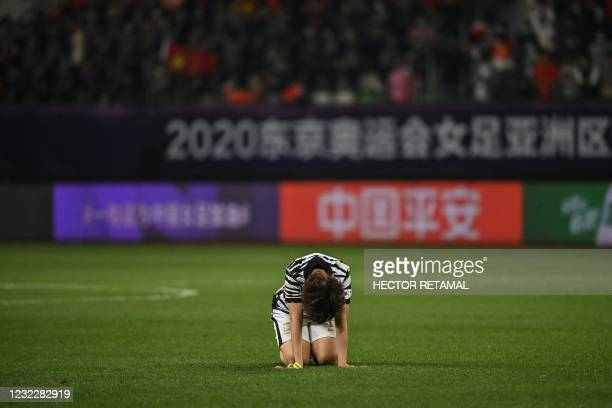 South Korea's Lim Seon-joo reacts after defeat during the qualifying play-off second leg women's football match for the Tokyo 2020 Olympic Games...