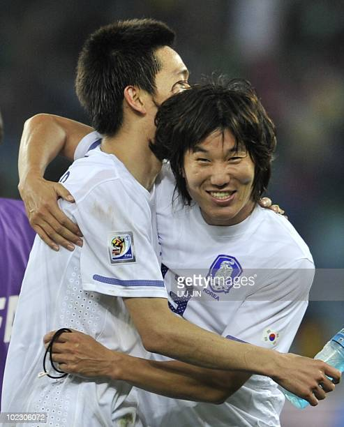 South Korea's midfielder Kim JaeSung reacts after their Group B first round 2010 World Cup football match on June 22 2010 at Moses Mabhida stadium in...