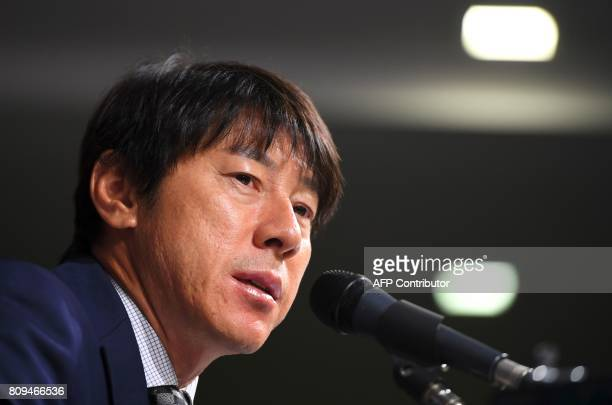 South Korea's new national football team coach Shin TaeYong speaks during a press conference at the Korea Football Association in Seoul on July 6...