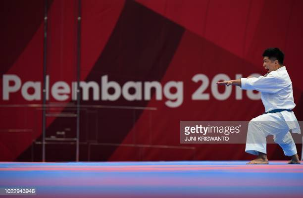 South Korea's Park Heejun competes in the men's karate kata repechage final during the 2018 Asian Games in Jakarta on August 25 2018