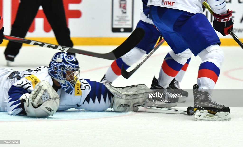 South Korea's Park Sungje tries to get a puck during the group B match USA versus South Korea of the 2018 IIHF Ice Hockey World Championship at the Jyske Bank Boxen in Herning, Denmark, on May 11, 2018.