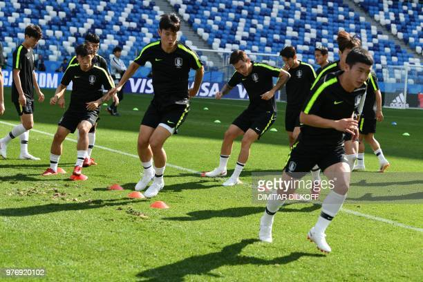 South Korea's players attend a training session at Nizhny Novgorod Stadium in Nizhny Novgorod on June 17 on the eve of the team's Russia 2018 World...