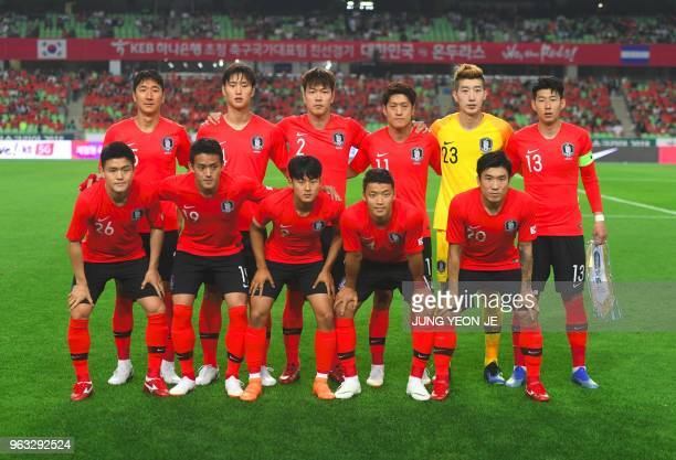 South Korea's players Jung Wooyoung Jeong Seunghyeon Kim Younggwon Lee Chungyong goalkeeper Jo Hyeonwoo Son Heungmin Ju Sejong Hong Chul Lee Sungwoo...