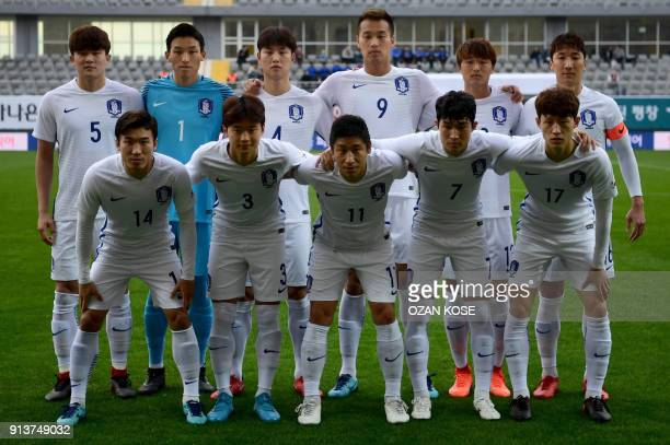South Korea's players line up before the international friendly football match between South Korea and Latvia on February 3 2018 at Mardan Stadium in...
