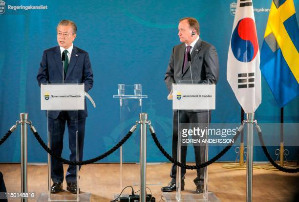 South Korea's President Moon Jae-in and Sweden's Prime Minister Stefan Lofven give a press conference after their meeting at Grand Hotel in...