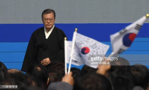 South Korea's President Moon Jae-in attends a ceremony commemorating the 100th anniversary of the March First Independence Movement against Japanese...