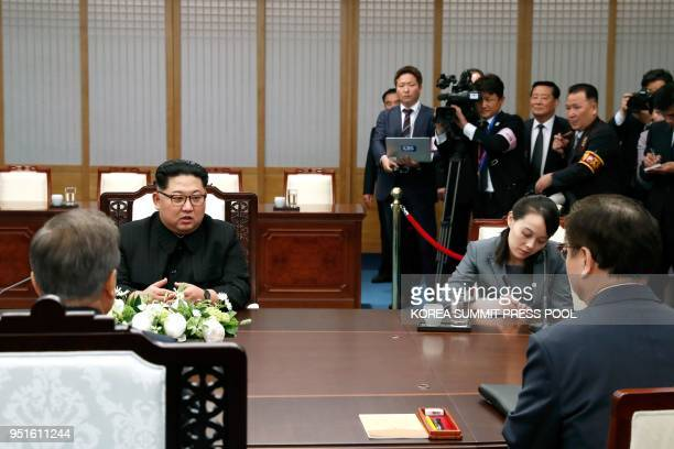 South Korea's President Moon Jaein attends the InterKorean summit with North Korea's leader Kim Jong Un and his sister Kim Yo Jong in the Peace House...