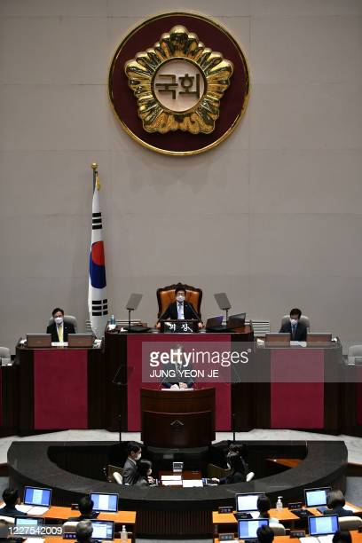 South Korea's President Moon Jaein delivers a speech during the opening ceremony of the 21st National Assembly term in Seoul on July 16 2020
