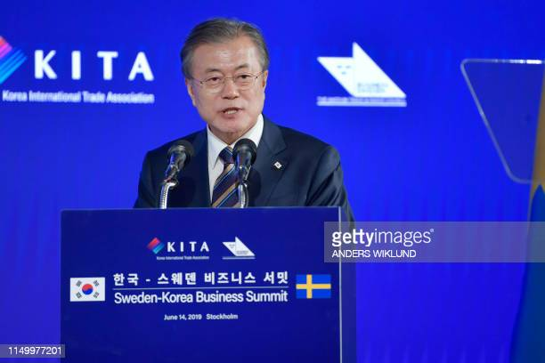 South Korea's President Moon Jaein gives a speech at the SwedenKorea Business Summit in Stockholm Sweden on June 14 2019 South Koreas President Moon...